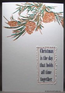 Winter Woods - Pine branch and pine cones en tekst van Damask Reindeer