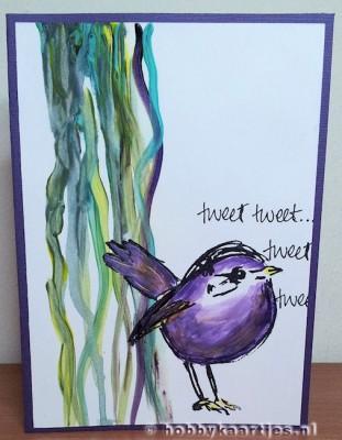 Dina Wakley Birds met acryl verf