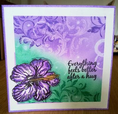 Magenta Hibiscus kaart gemaakt door Bianca