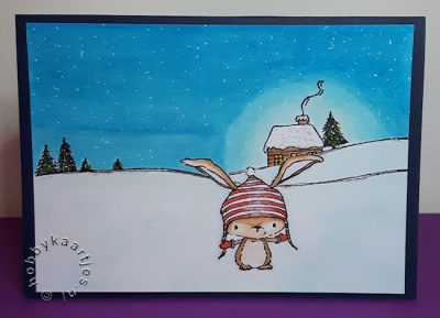 Snow Cabin on Hill (horizon) en Birch (winter BUNNY)