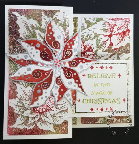 Swirly Poinsettia, Poinsettia, Holly en Damask Reindeer